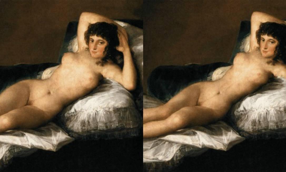 """A famosa """"A Maja nua"""" (1790-1800) de Francisco de Goya ficou com cintura e quadris bem mais finos Reprodução"""