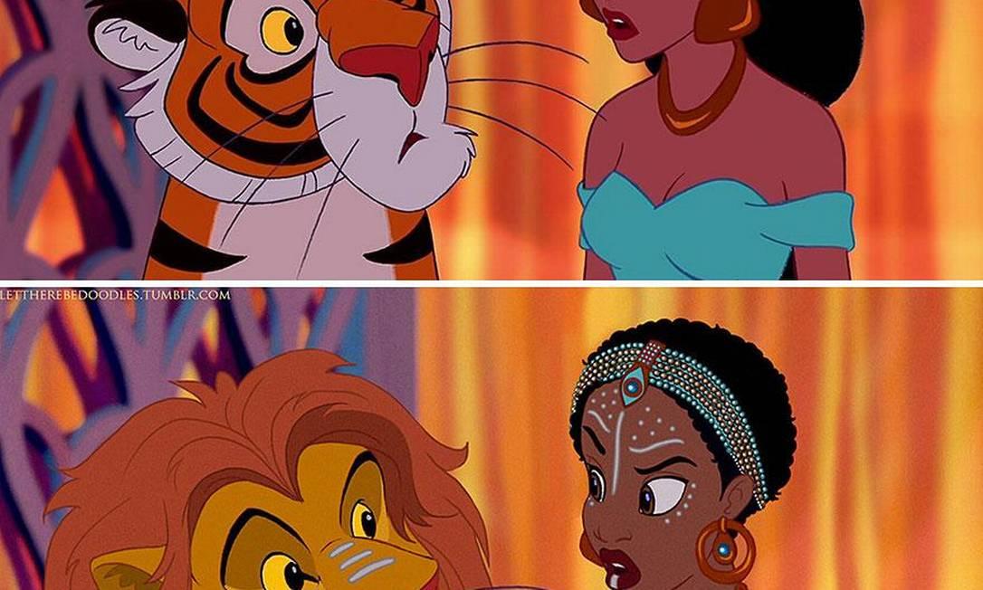 Ela, porém, acabou ganhando trajes semelhantes ao das mulheres do Quênia. O tigre Rajah, o pet nada domesticável de Jasmine, também se adaptou à nova origem, tornando-se um leão Reprodução