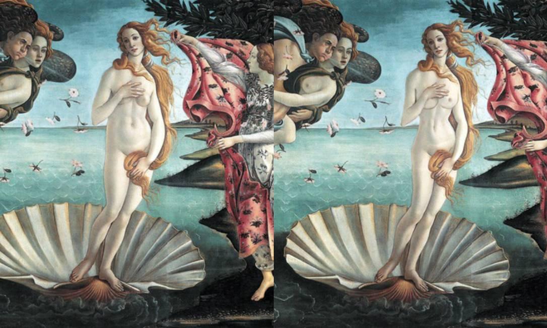"""O mesmo aconteceu com a protagonista de """"O Nascimento de Vênus"""" (1483), de Sandro Botticelli, que ainda ganhou um implante de silicone Reprodução"""