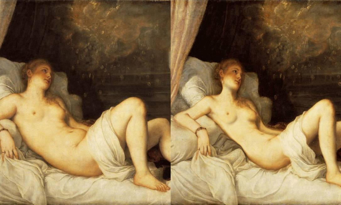 """""""Dânae e o Cupido"""" (1750 - 1800), do italiano Ticiano. A princesa da mitologia grega perdeu a barriga saliente e teve o rosto afinado Reprodução"""
