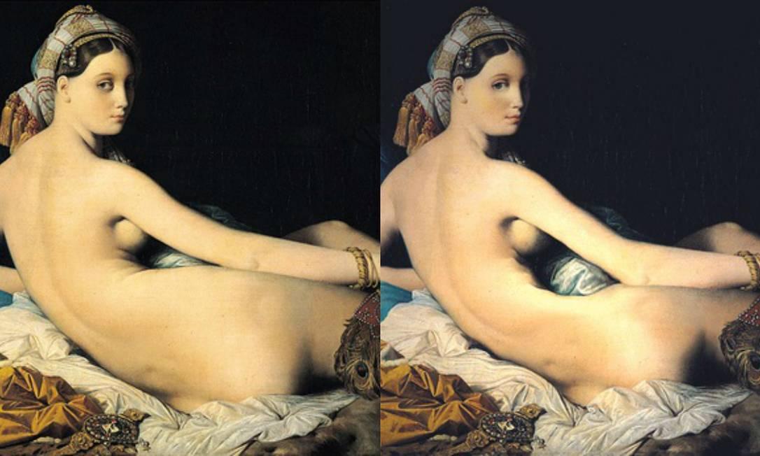 """""""A grande odalisca"""" (1814), de Jean Auguste Dominique Ingres, ficou menor depois da passagem do Photoshop Reprodução"""