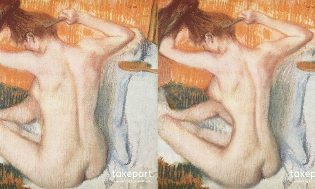 """""""La Toilette"""" (1884–1886), de Edgar Degas. Na versão do século XXI, silhueta reduzida e seios avantajados Reprodução"""