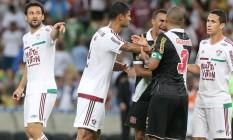 Fred e Rodrigo (3) bateram boca no último Fluminense x Vasco Foto: Guilherme Pinto / Agência O Globo