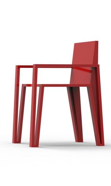 André e Felipe gostam de trabalhar com materiais naturais, como madeira, mas também têm peças feitas de reciclados divulgação / Formas geométricas na cadeira vermelha
