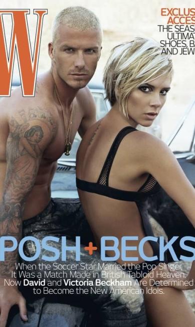 """Não só as revistas de celebridades querem Victoria e David nas capas. Acima, os dois como estrelas da """"W"""" de agosto de 2007, época em que o jogador estava a caminho dos Estados Unidos para jogar no Galaxy Divulgação"""