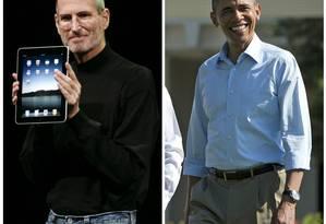 Steve Jobs e Obama: ícones do estilo normcore Foto: Montagem sobre fotos AFP e AP