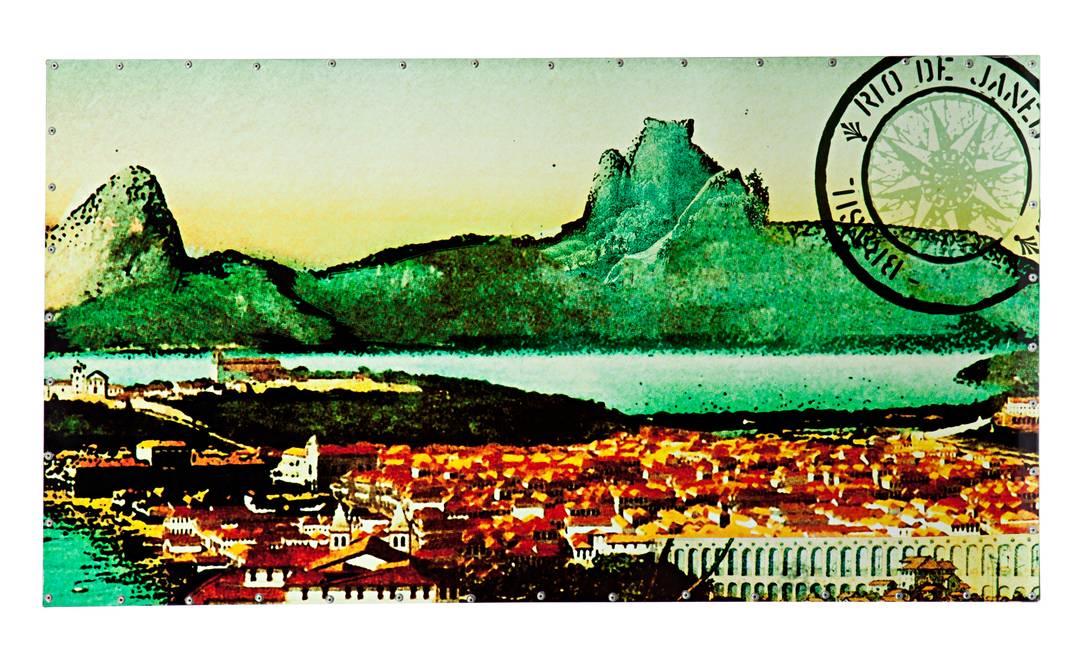 O mural pode ganhar formas e imagens divertidas também. O mural da loja Olhar O Brasil, de Chicô Gouvêia, tem a imagem de um selo postal antigo do Rio (www.olharobrasil.com.br), R$ 590 Rodrigo Azevedo / Divulgação