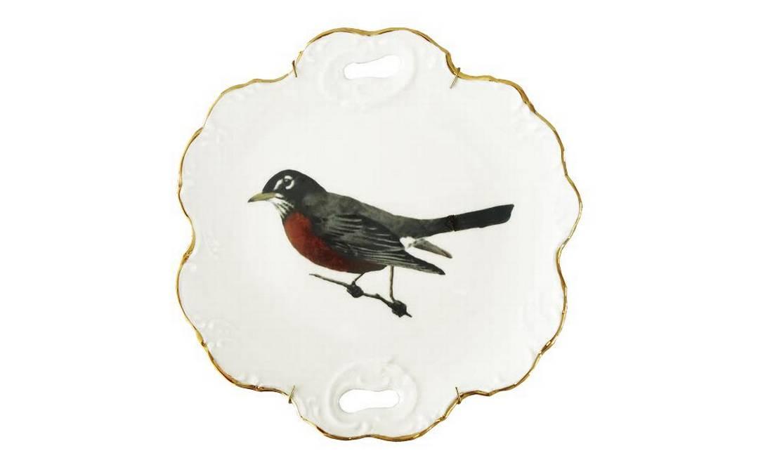 Prato de pássaro com borda dourada da Qvizuland (R$ 209) Divulgação
