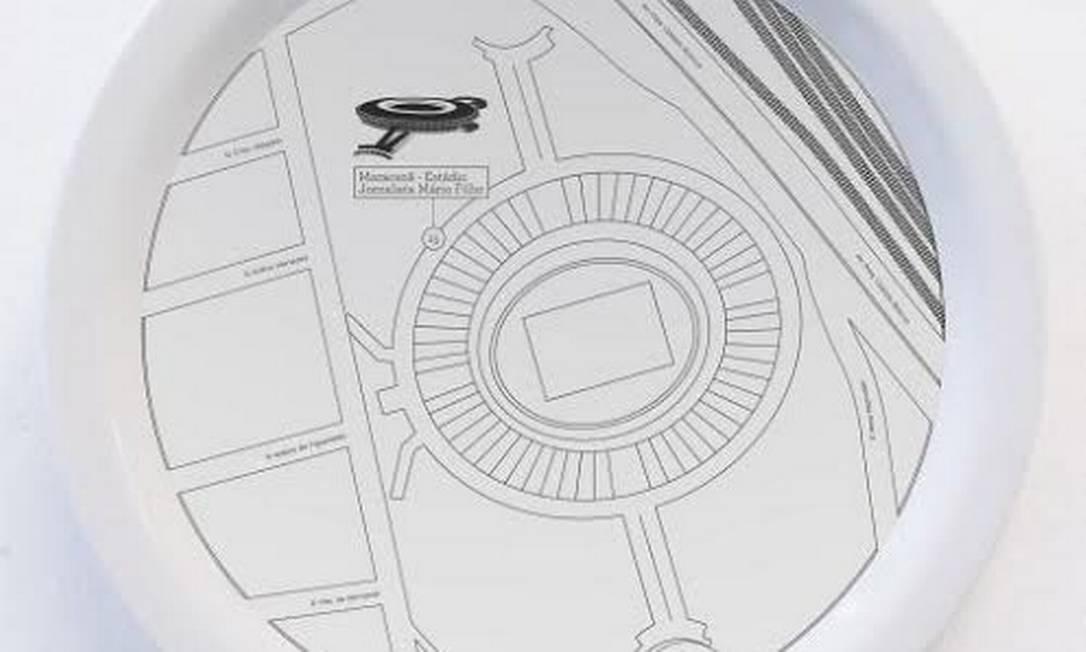 Prato da coleção +5521, do designer Maurício Arruda, para LZ Studio (R$ 100). Mapas do com pontos turísticos do Rio foram estampados na cerâmica Divulgação