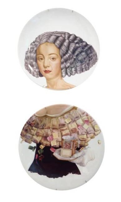 Dupla de pratos decorativos Maria Antonietta, assinados por Sônia Menna Barreto para Dona Coisa (R$ 378) Divulgação