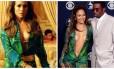 """O modelo exibido por JLo em """"I Luh Ya Papi"""". À direita, o marcante Versace usado no Grammy de 2000"""