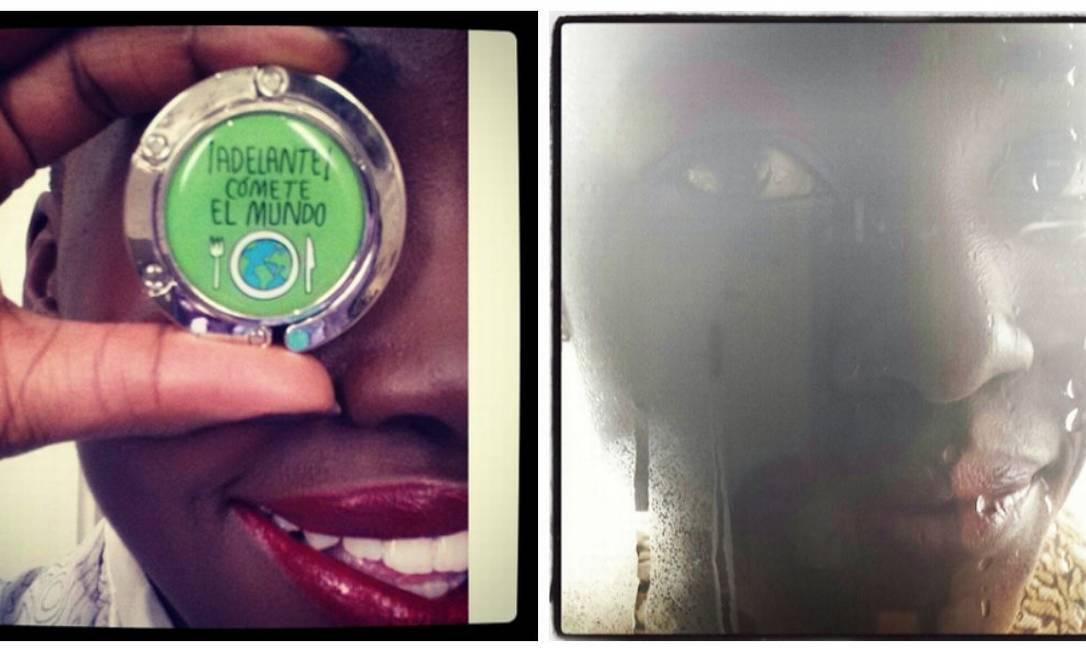 """No Instagram, Lupita mostrou o presente que ganhou de aniversário de sua mãe. O pratinho vem com o escrito """"Adelante, cómete el mundo"""". Na imagem ao lado, a atriz se mostra otimista para o Oscar e diz que chuva é sinal de sorte Instagram"""