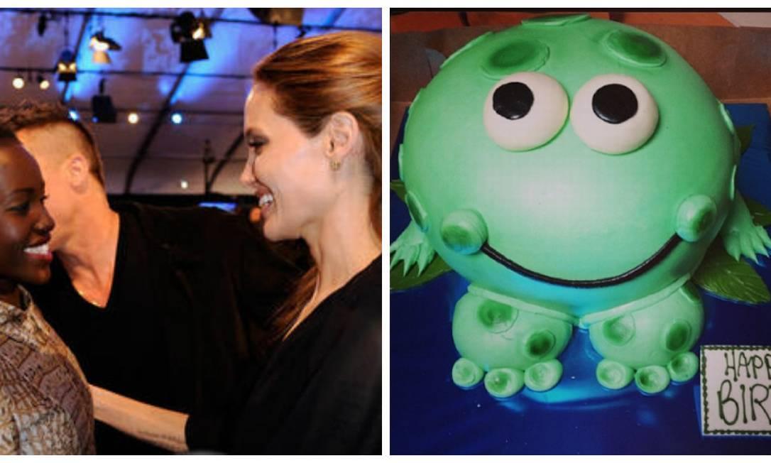 Lupita recebeu o carinho de Angelina Jolie no 2014 Film Independent Spirit Awards, na Califórnia. No sábado, a atriz completou 31 anos e ganhou um bolo com desenho de sapo AFP e Instagram