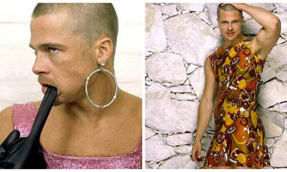 """De vestido e até brinco de argola, Brad Pitt já mostrou a mulher que existe nele nas páginas da revista """"Rolling Stones"""", em 1999 Montagem sobre fotos de divulgação da Rolling Stones"""