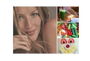 Adepta de uma alimentação saudável, Gisele Bündchen tem uma horta em sua casa, onde colhe as frutas e legumes, que predominam em sua dieta. No instagram, a top já postou foto de um suco verde, com a mãozinha da filha, Vivian, tentando pegar o copo Foto: Montagem feita sobre fotos do Instagram