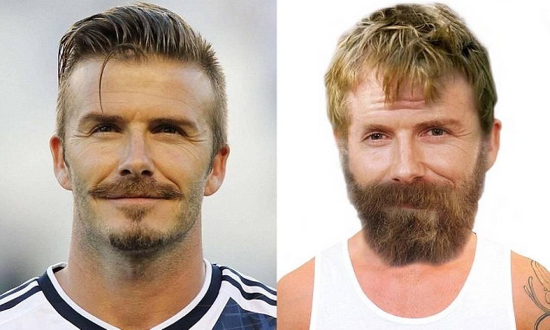 Será que Victoria Beckham se apaixonaria por David Beckham se ele tivesse o visual da foto à direita? Reprodução Vouchercodespro