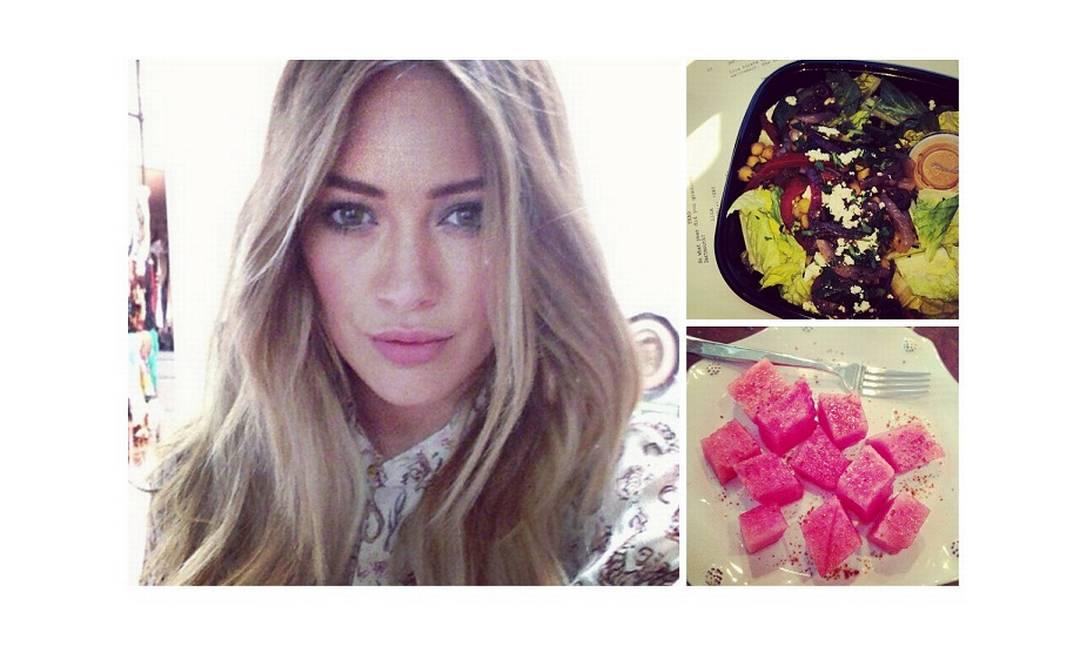 Hilary Duff diz que sua sobremesa favorita é melancia. Assim fica mais fácil manter a forma... Reprodução