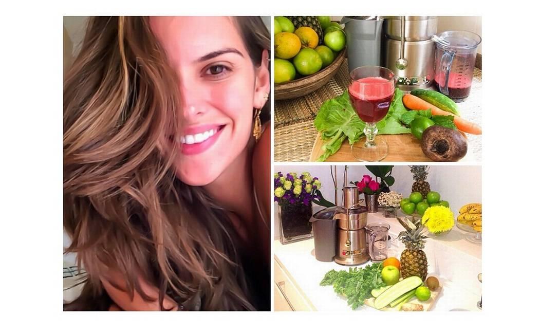 Assim como a Gisele, Izabel Goulart também é adepta dos sucos funcionais. E a top ainda costuma dividir as receitas em seu Instagram. Confira os ingredientes para o suco vermelho: 300 ml de água de coco, 1 cenoura, 1/2 pepino, 1/2 beterraba, 1/2 limão espremido, 1/2 xícara de folhas de hortelã, 1 pedaço de 2 cm de gengibre e 2 folhas grandes de couve Reprodução