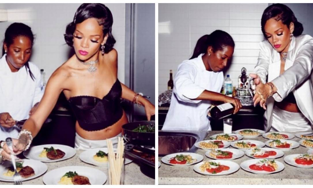 Na virada de 2014, Rihanna preparou alguns quititutes para o jantar, que reuniu cerca de 20 de seus amigos. Para entrada, a cantora optou por uma saladinha light, com tomates, ervilhas e grão de bico Reprodução
