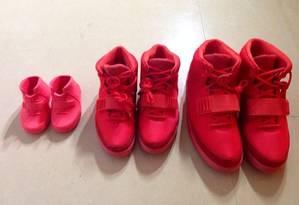 Kim, North West e Kanye: sapatos combinados Foto: Reprodução Instagram