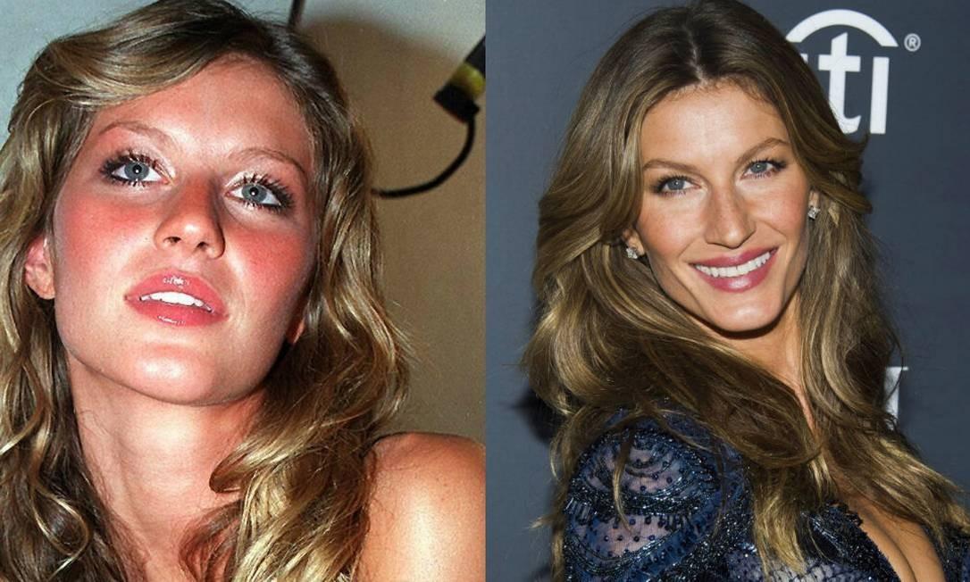 À esquerda, Gisele Bündchen aos 19 anos. À direita, a modelo aos 33 anos - ainda um furacão Foto: Divulgação e Charles Sykes/Invision/AP