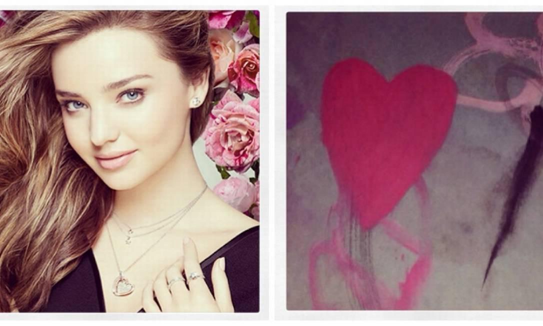 Separada do ator Orlando Bloom, Miranda Kerr ganha pintura de coração feita pelo filho, Flynn Reprodução Instagram