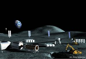 Instalação lunar serviria para a produção de combustível para a exploração humana de Marte Foto: Divulgação