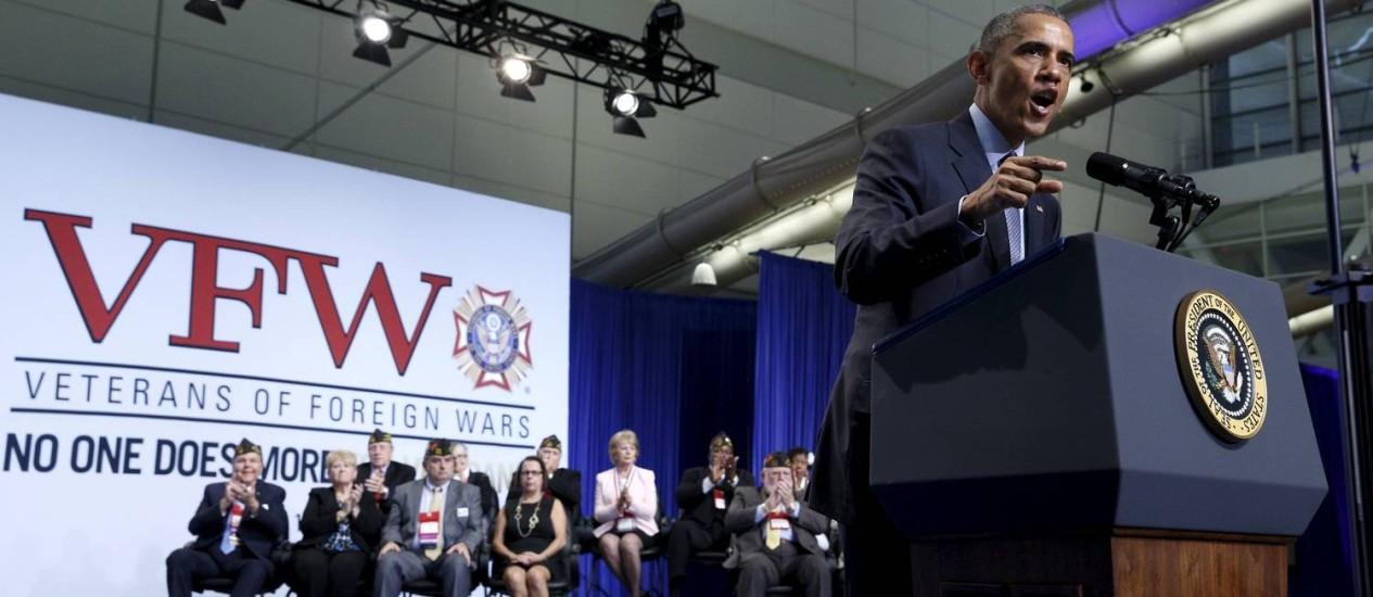 Obama discursa para veteranos em Pittsburgh: defesa da política externa Foto: KEVIN LAMARQUE / REUTERS