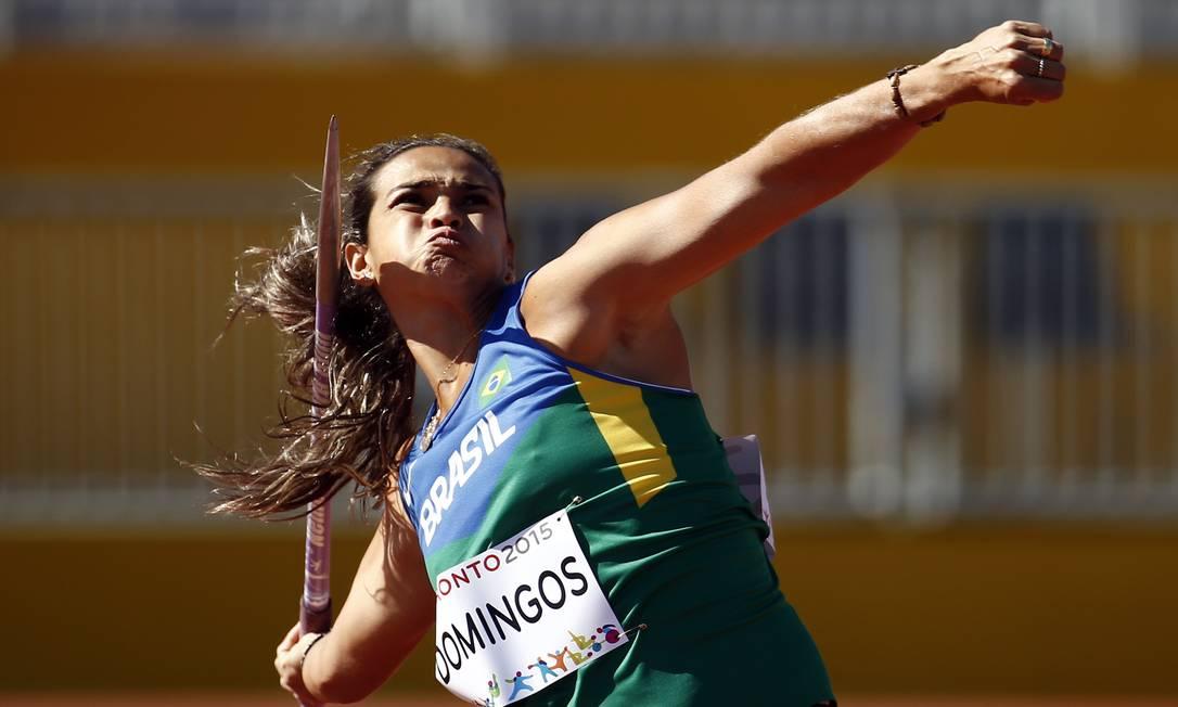 Laila Domingos durante competição de atletismo na prova de lançamento de dardo Rob Schumacher / USA Today Sports
