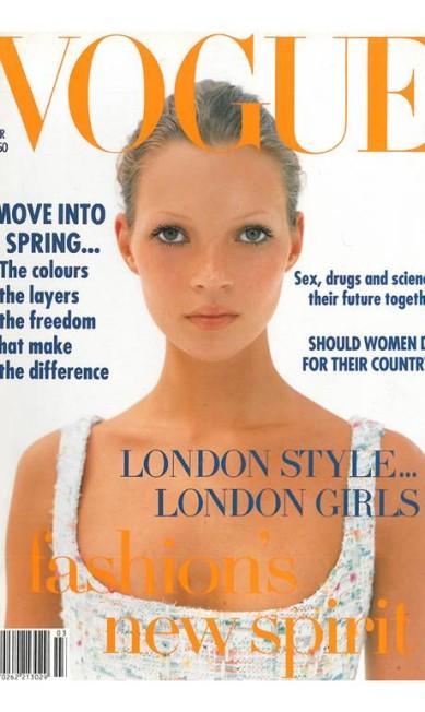 """Ton, maquiador, gosta da capa da """"Vogue"""" UK de março de 1993, feita por Corinne Day, a fotógrafa que fez as primeiras fotos da modelo: """"Eu amava as 'supermodels' dos anos 1990 e Kate foi inspiração para vários trabalhos meus. Amo essa capa porque ela era supernova e linda, o cabelo está preso e o make simples! Luv Kate"""" Reprodução"""