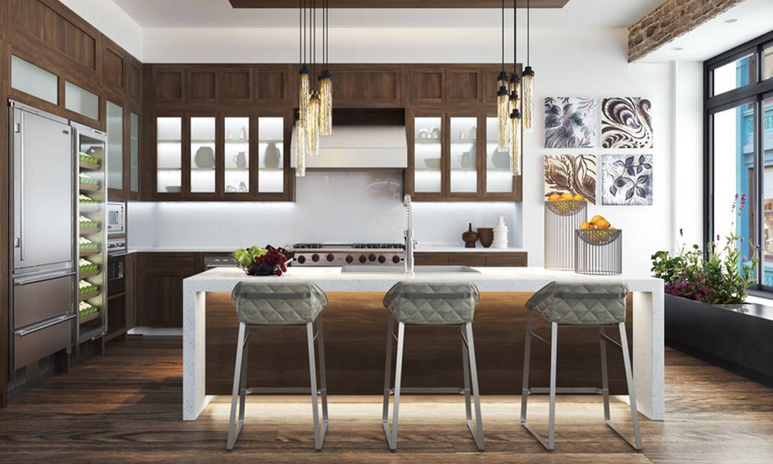 A cozinha de uma das unidades, cuja iluminação combina com o ritmo circadiano Divulgação