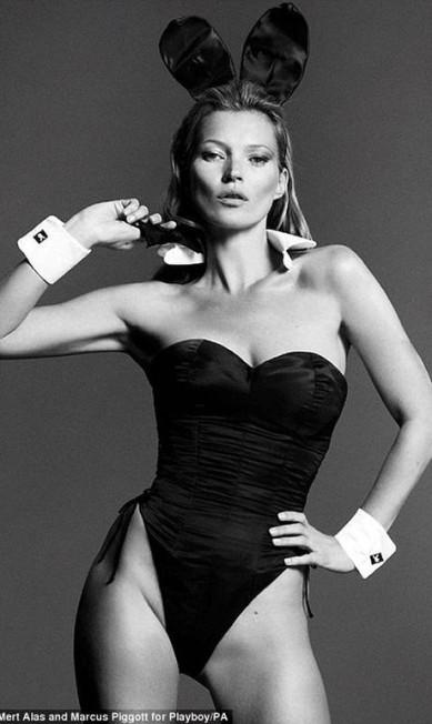 Uma coelhinha quase quarentona: prestes a completar 40 anos, Kate Moss causou rebuliço logo que foram divulgadas as primeiras imagens da edição de janeiro de 2014 da Playboy, que comemora o 60º aniversário Divulgação