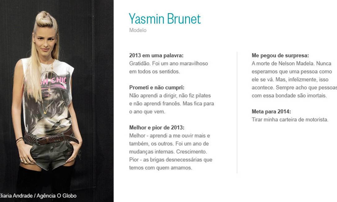 Yasmin Brunet Eliaria Andrade/ Agência O Globo