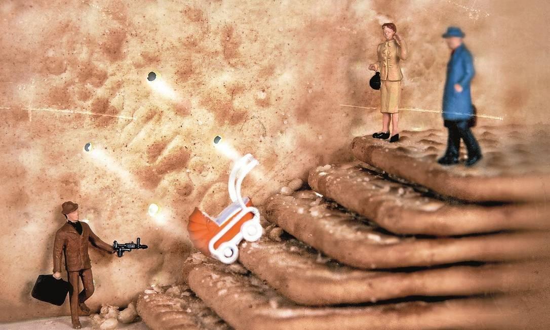 """Reprodução de cena famosa de """"Os intocáveis"""", refeita com biscoitos cream-cracker Foto: Terceiro / Reprodução"""