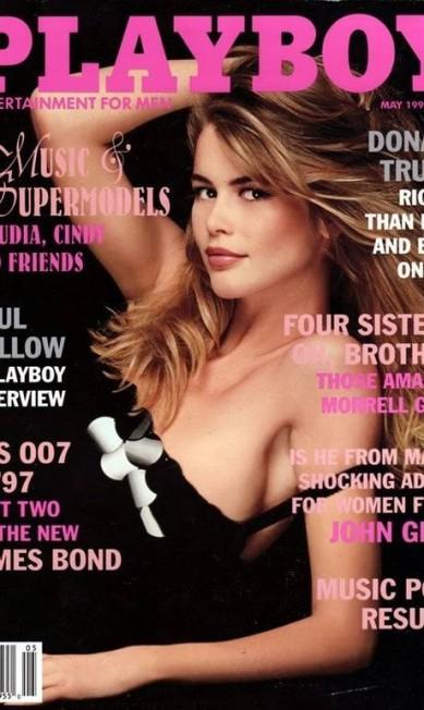 Em 1997, chegou a vez da alemã Claudia Schiffer fazer sua estreia Reprodução / Playboy