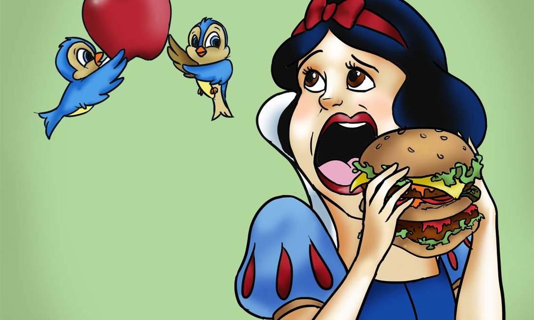 Branca de Neve prefere fast food, mas os passarinhos 'lembram' que a princesa precisa comer maçã Ilustração - Rayut Siman Tov