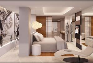 Projeto em 3D de um quarto: manequim, painel de desfile Foto: Terceiro / Agência O Globo