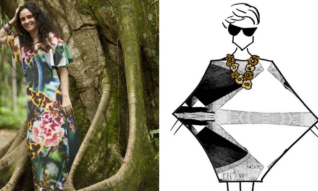 A estilista Alessa e o croqui de um modelo que será apresentado no Fashion Rio Divulgação