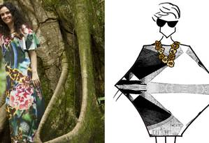"""A estilista Alessa e o croqui de um modelo da marca que será apresentado no Fashion Rio. Conhecida por suas peças multicoloridas, Alessa apresenta uma virada no seu estilo, usando tons de cinza na coleção """"Concreto"""", inspirada na arquitetura do arquiteto Paulo Mendes da Rocha Foto: Divulgação"""