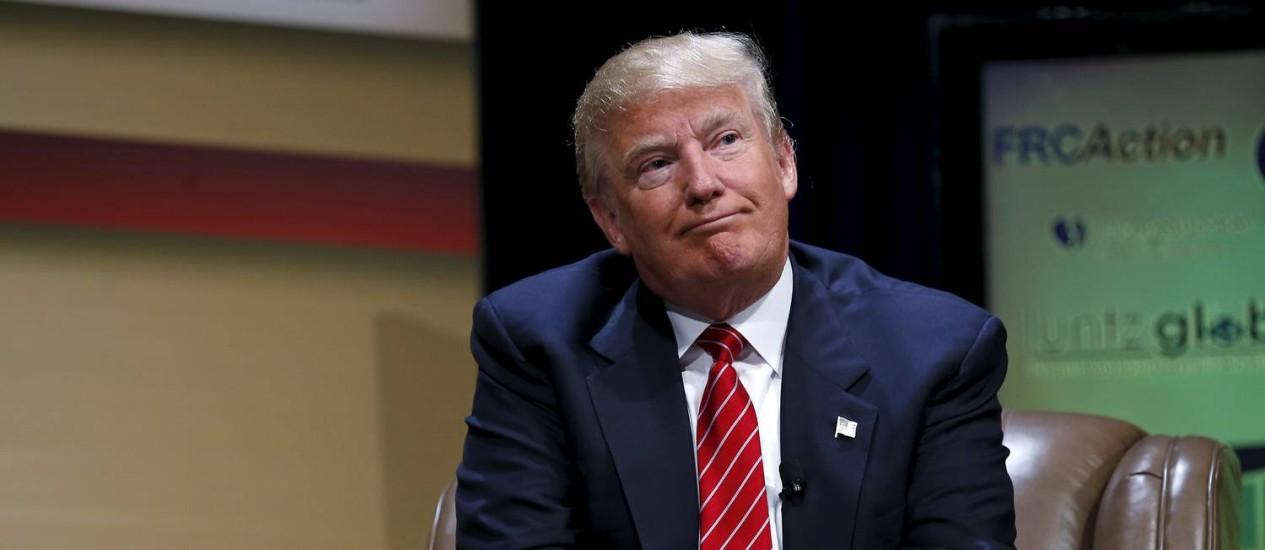 Polêmico e líder. O magnata e pré-candidato republicano Donald Trump Foto: REUTERS/18-7-2015