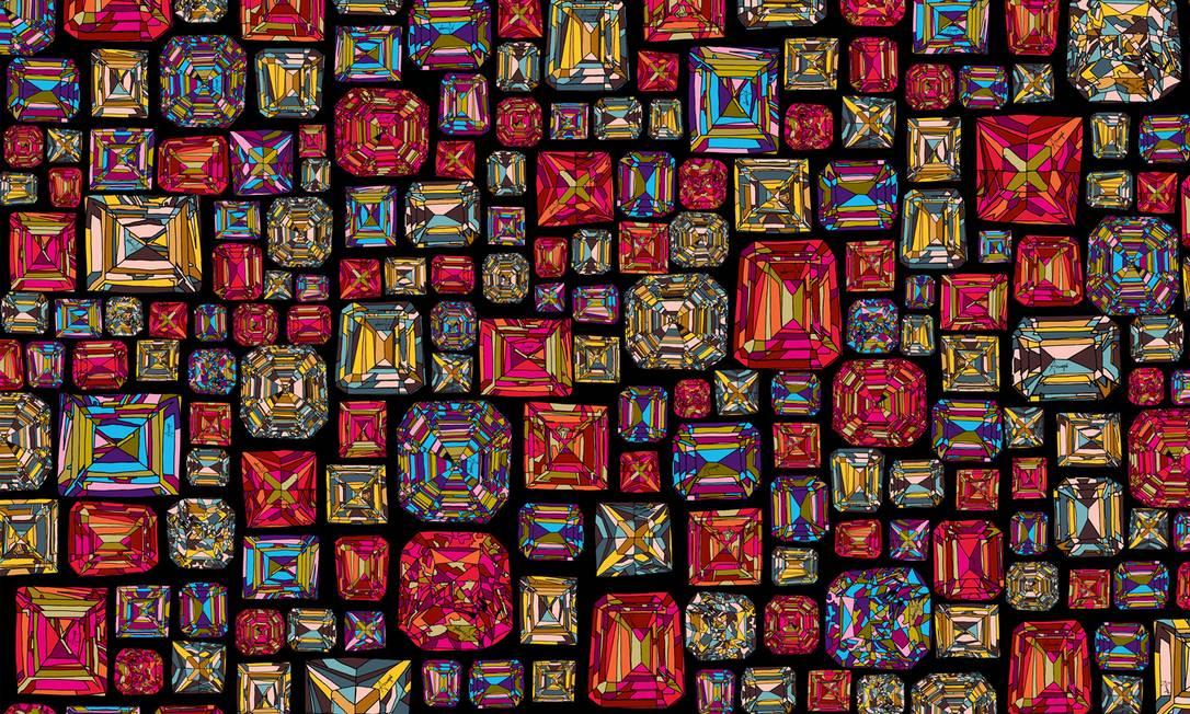 A Amapô escolheu como destaques a estampa Vitral (na imagem) e a Paetê, que foram desenhadas exclusivamente pelo artista francês Yassin Lahmar, amigo e parceiro da marca. A estampa Bolea foi feita pelas próprias designers inspiradas na decoração naif das boleas de caminhão Divulgação