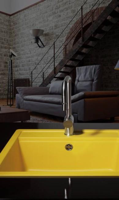 BOM HUMOR EM ALTA: Amarelo, rosa, azul ou verde substituem o inox básico das cubas de cozinha Terceiro / Divulgação
