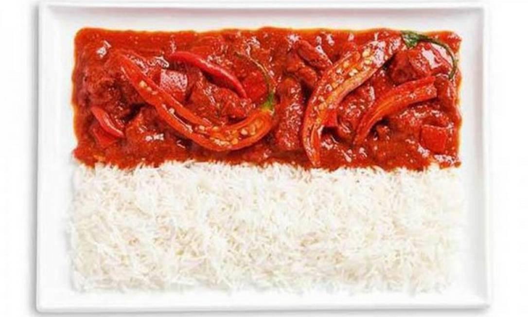 O arroz também é um ingrediente presente na bandeira da Indonésia, que leva ainda Sambal (um molho bem apimentado) Divulgação / WHYBIN\TBWA