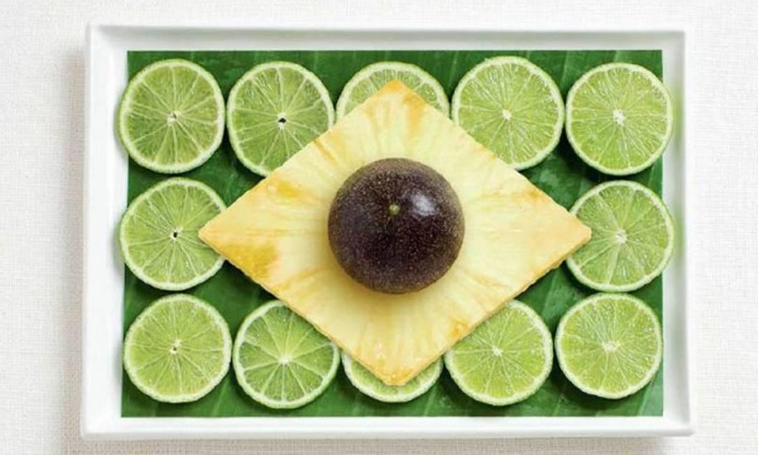 O Brasil não ficou de fora e foi representado com folha de bananeira, limão, abacaxi e maracujá Divulgação / WHYBIN\TBWA