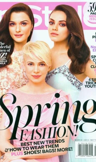 """A edição de março da """"InStyle"""", com o trio Michelle Williams, Rachel Weisz e Mila Kunis na capa, vendeu 585.282. Selena Gomez, estrela de junho, rendeu a pior marca do semestre à publicação, totalizando somente 375.790 exemplares vendidos InStyle América"""