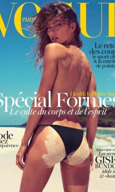 """Para a edição de junho/julho de 2012 da """"Vogue"""" francesa, Gisele posou com o bumbum cheio de areia para as lentes da dupla Inez van Lamsweerde e Vinoodh Matadin Divulgação"""