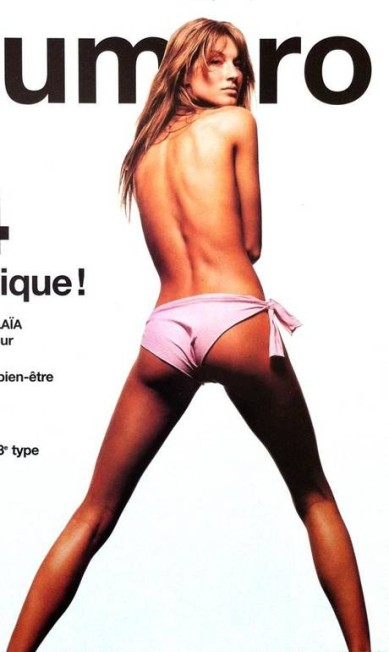 """Na capa da edição de junho/julho de 2000 da revista """"Numéro"""", Gisele surgiu apenas de calcinha Reprodução Numéro"""