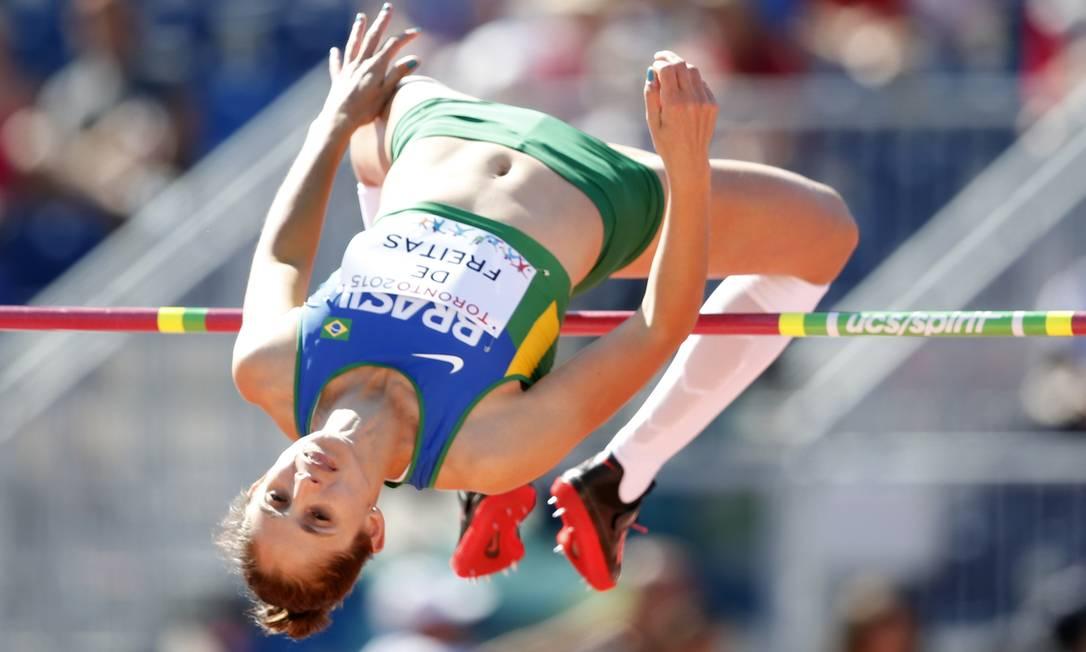 A brasileira Monica de Freitas na prova de salto em altura Erich Schlegel / USA Today Sports