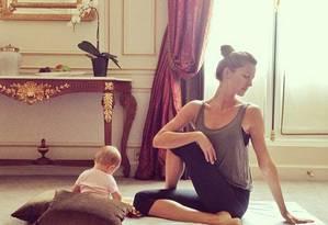 Gisele Bündchen: ginástica ao lado da filha de 6 meses Foto: Reprodução Instagram