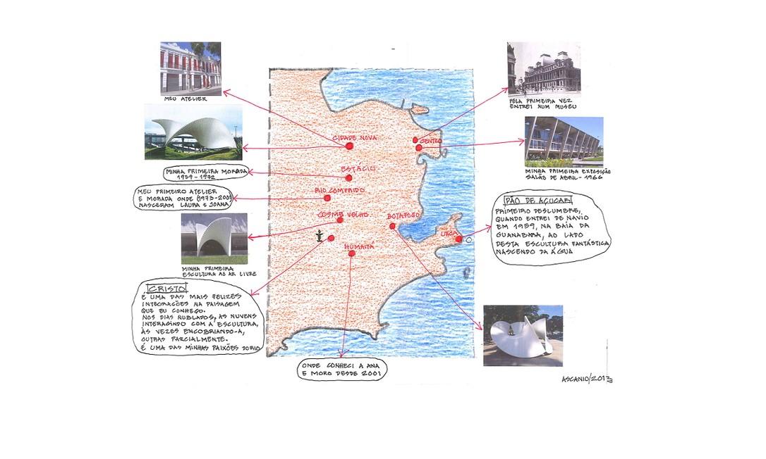 EL Rio de Janeiro (RJ) 06/06/2013 Mapa do Rio assinado pelo artista plástico Ascânio MMM Foto: Reprodução Obs: A imagem só pode ser veiculada uma única vez, no caderno Ela. Foto: Terceiro / Agência O Globo
